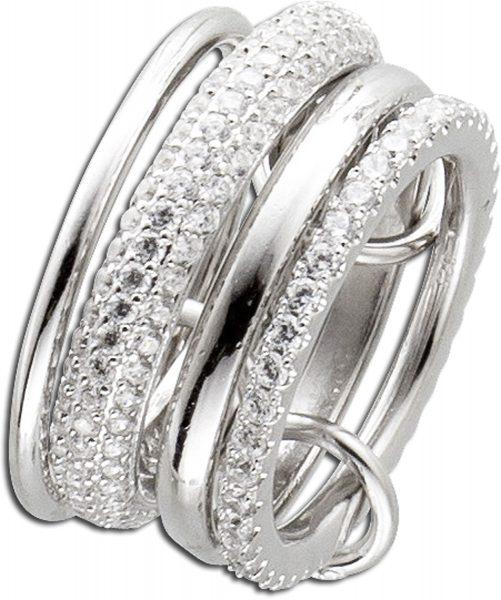 Ring Silber 925 Set Damenring Silberschmuck weiße Zirkonia