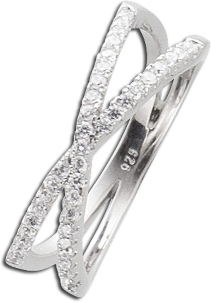 X-Ring weißem Zirkonia Silber 925 Silbe...
