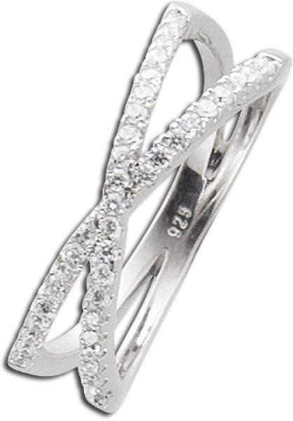 X-Ring weißem Zirkonia Silber 925 Silberring