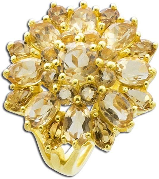 Edelsteinring gelb Silber 925 vergoldet ...