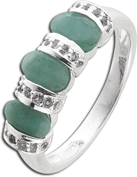Edelstein Ring Silber 925 grüner Smarag...