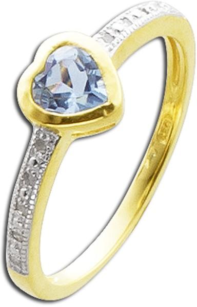 Silberring Blautopas gelb vergoldetSterling Silber 925 Diamanten