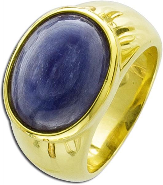 Edelstein Ring Silber 925 vergoldet Kyan...