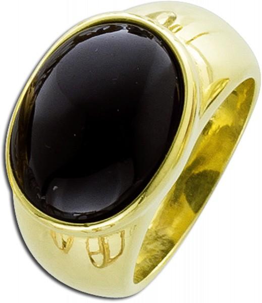 Edelstein Ring Silber 925 vergoldet schwarzer Spinell