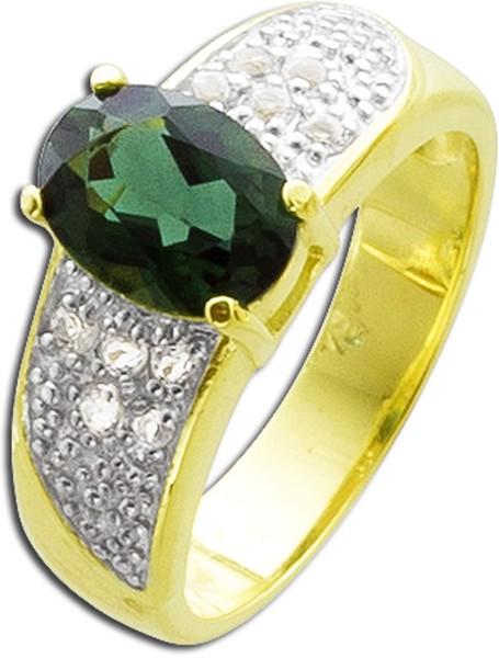 Damen Ring Silber 925 vergoldet grüner ...