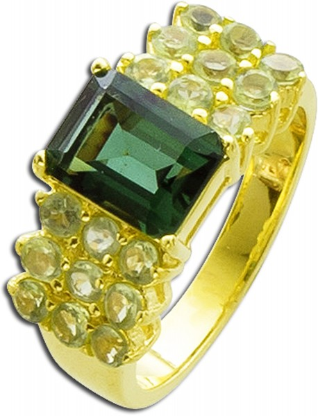 Edelstein grün Ring Silber 925 vergoldet Peridot Quarz