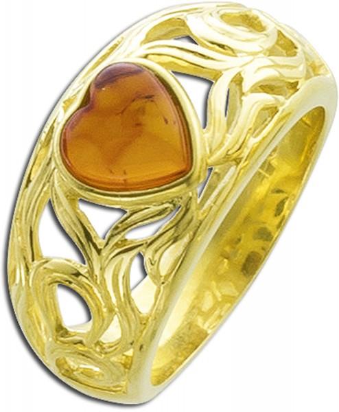 Edelstein braun Ring Silber 925 vergoldet Bernstein Herz