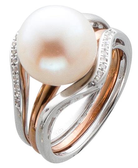 Ringset Silber 925 Ring Perle rosegold v...