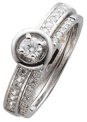 Ring Set in Sterling Silber 925 Zirkonia