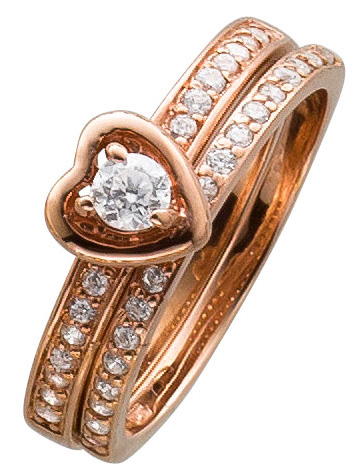 Ring Set  Sterling Silber 925 rose vergo...