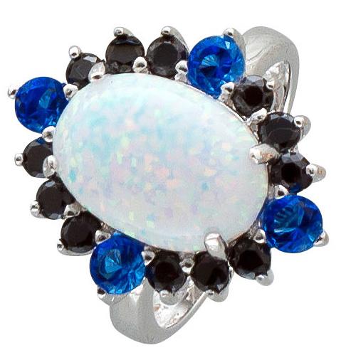 Opal Safir Ring blauer weisser Sterling ...