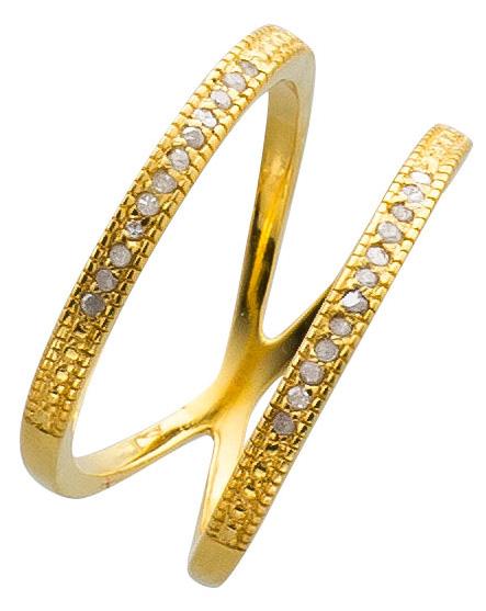 Offener Ring Sterling Silber 925 vergoldet Diamanten