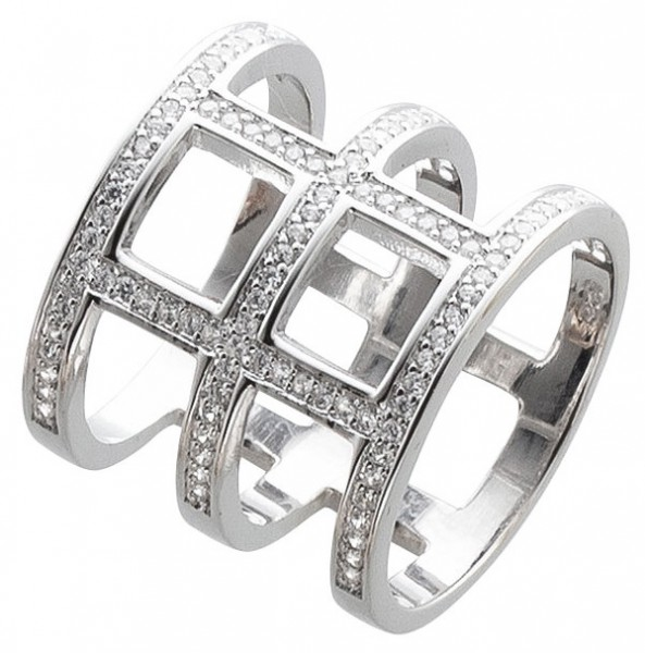 Offener Ring Sterling Silber 925 Zirkonia