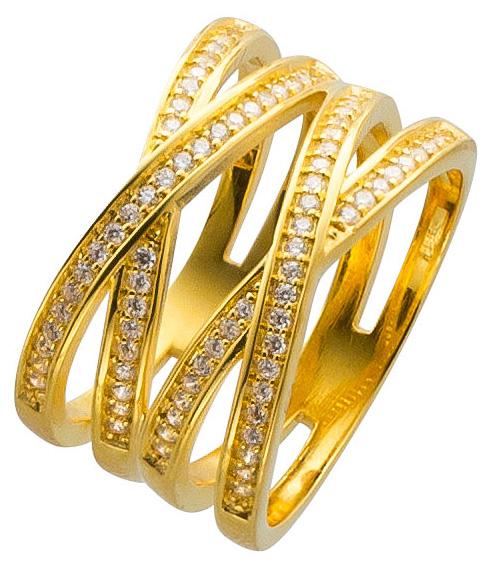 X Ring Silber 925 vergoldet Damenring Zirkonia