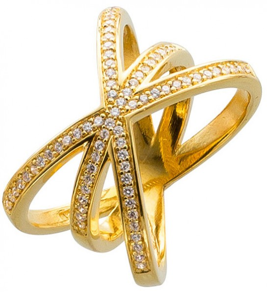 X Ring Silber 925 vergoldet Zirkonia