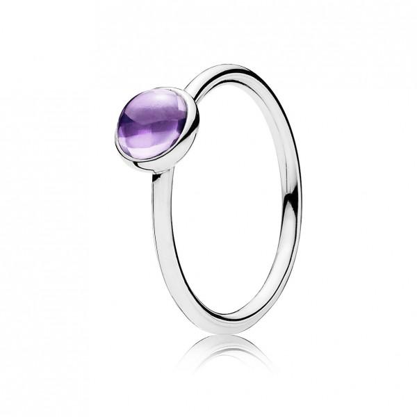 PANDORA SALE – Ringe 190983ACZ Malerisches Tröpfchen lilafarbene funkelnde Zirkonia Designer Ring