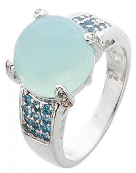 Edelsteinring Sterling Silber 925 blauer...