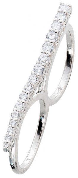 Zweifingerring Silber 925 Ring modern weiße Zirkonia