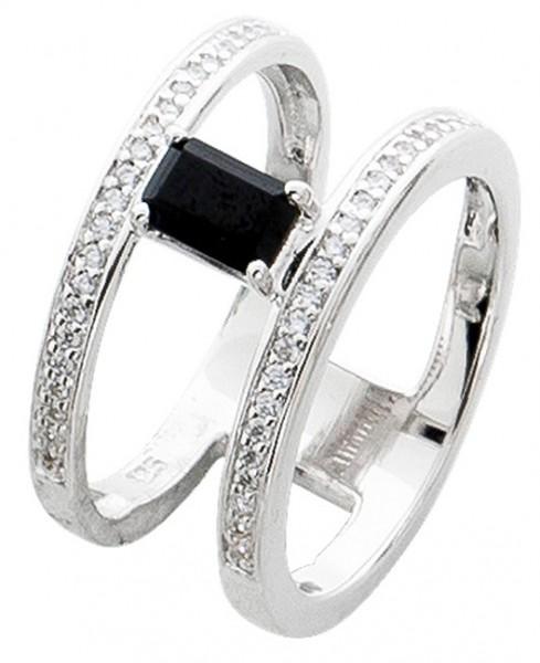 Edelsteinring schwarz X Ring Silber 925 Spinell Zirkonia