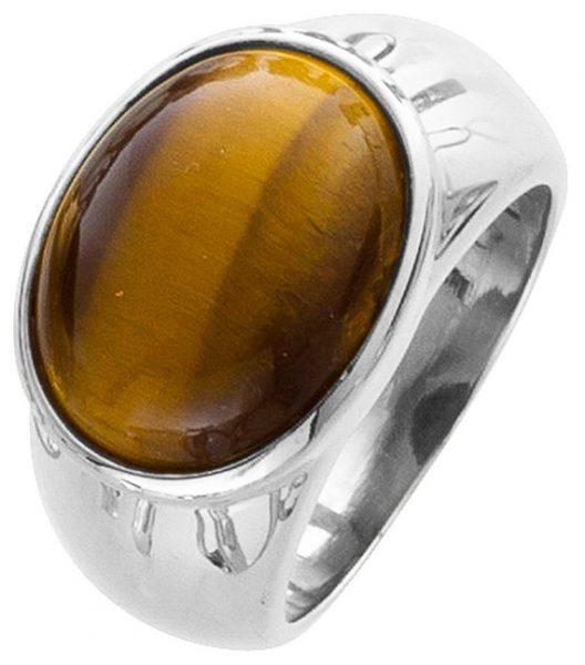 Ring Tigerauge brauner Edelsteinring  Silber 925 poliert