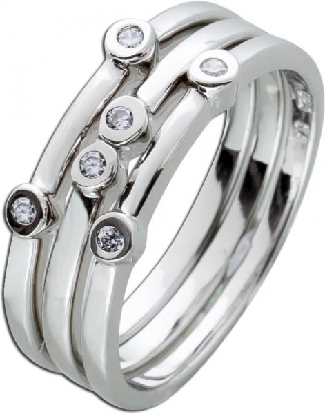Ring Set 3-teilig weißen Zirkonia Silber 925 Damenringe