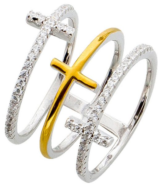 Ring Silber 925 Bicolor vergoldet Kreuz Ring offen Zirkonia