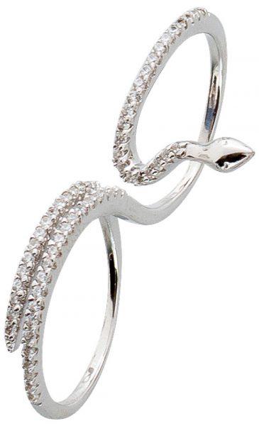 Zweifingerring Silber 925 Ring Schlangen Optik weiße Zirkonia