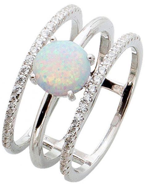 Edelstein weiß Ring Silber 925 Opal bunt schimmer Zirkonia