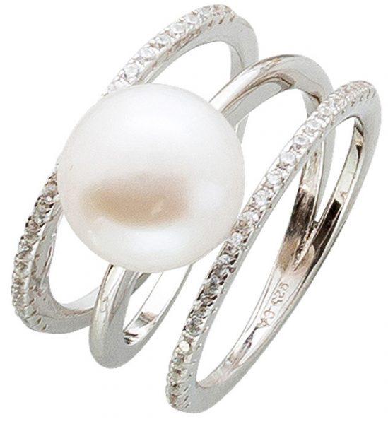 Offener Perlenring weißer Süßwasserzu...