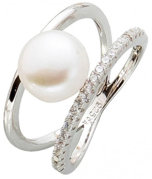 Offener Perlenring cremefarbener Süßwasserzuchtperle Silber 925 Zirkonia