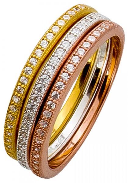 Memoire Ring Set Silber 925 Tricolor ros...
