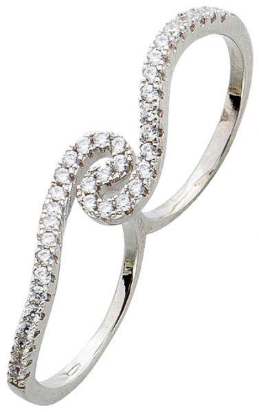 Zweifingerring Silber 925 Ring geschwungen weiße Zirkonia