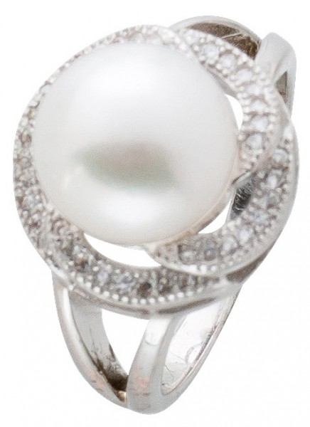 Ring Damen Silber 925 Perle weiß Zirkon...