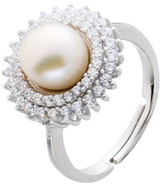 Ring Perle Silber 925 Damenring Süßwasserzuchtperle Zirkonia