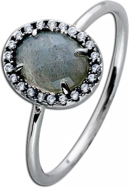 Grauer Labradorit Ring Edelsteinring Sterling Silber 925 Zirkonia