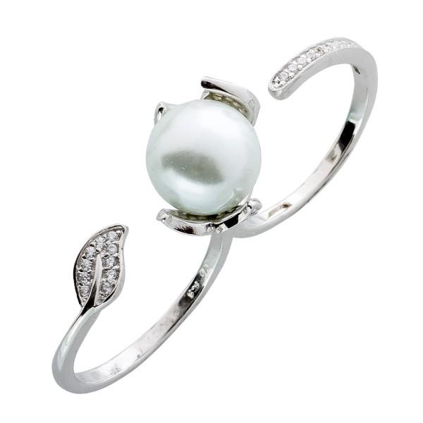 Perlen Ring Zweifingerring Silber 925 Silberschmuck Zirkonia