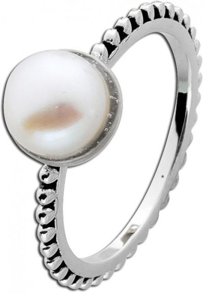 Silberring weißer Süßwasserzuchtperle Silber 925 Damenring