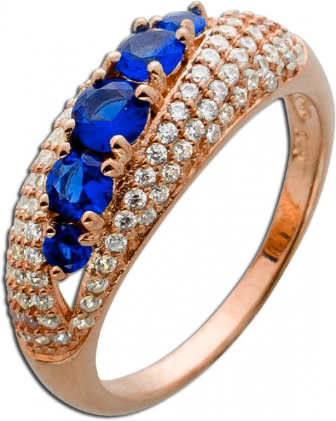 Ring Silber 925 rose vergoldet blau wei�...