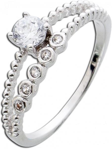 Silberring weisser Zirkoniaring Sterling Silber 925 Damenschmuck