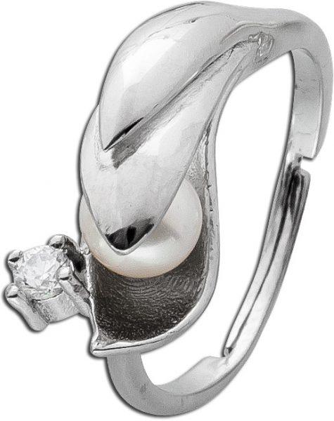 Damenring Silber Zirkonia Ring Sterling Silber 925 Süßwasserzuchtperle