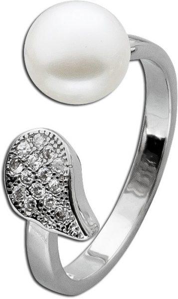 Ring Perlenring Sterling Silber 925 rhodiniert Süßwasserzuchtperle Zirkonia