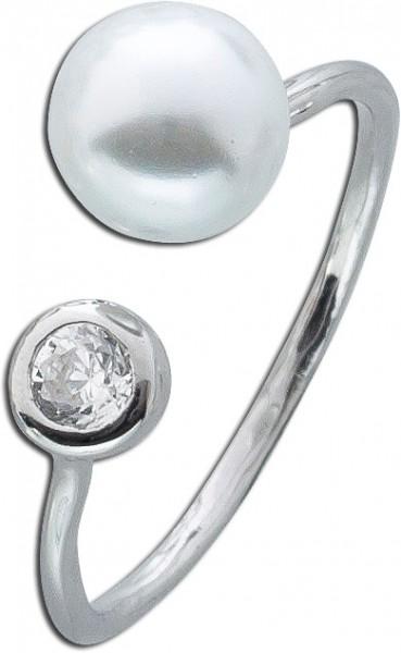Perlen Ring offen Silber 925 weiß Zirko...