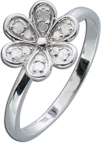 Blütenring Sterling Silber 925 rhodiniert poliert 12 Diamanten