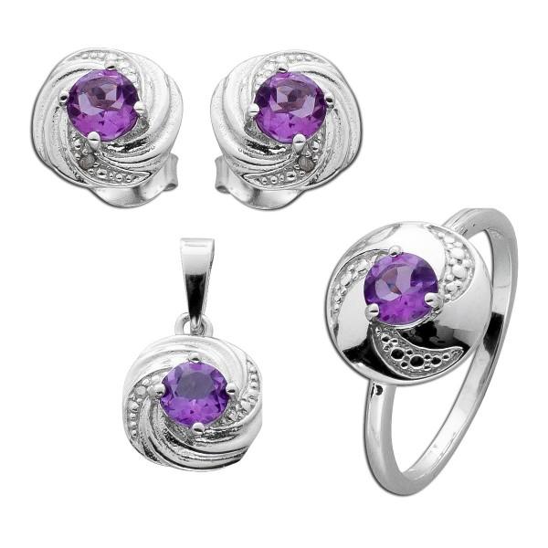 Amethyst Set bestehend aus Ring Anhänger Ohrstecker Sterling Silber 925 rhodiniert poliert Diamanten