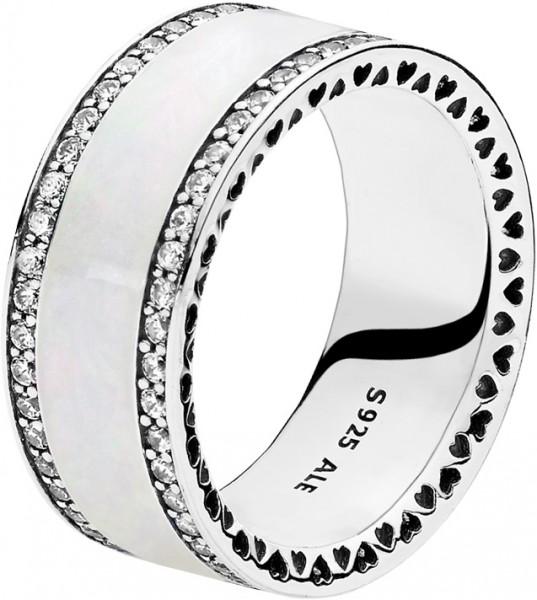 PANDORA SALE – Ring 191024EN23 Perlglanz Herzens-Band Silber 925 klarer cubic Zirkonia silberne Emaille