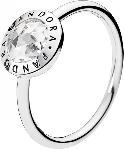 PANDORA Ring 191029CZ PANDORA Logo Silbe...