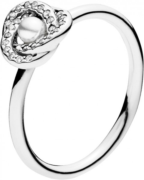 PANDORA Ring 191040WCP Glaenzender Liebesknoten Silber 925 Cubic Zirkonia Kristallperle Knotenoptik