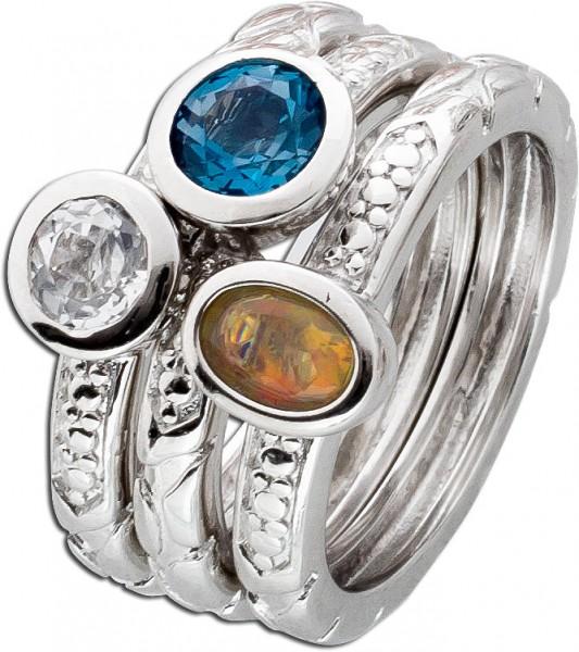 Bunter Edelsteinring Silber 925 Set 3-teilig äthiopischer Opal Blautopas weißer Topas