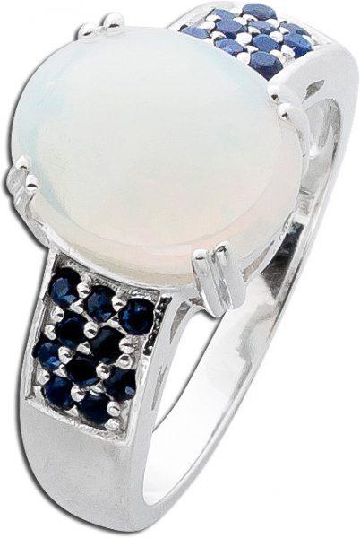 Opalring Silber 925 weiß blaue Saphire Safir weiß blau