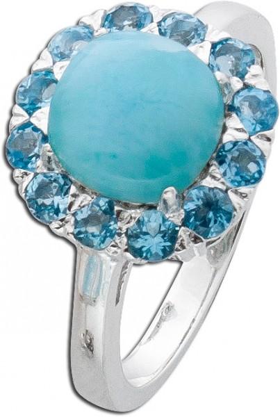 Ring Sterling Silber 925 Larimar Blautop...